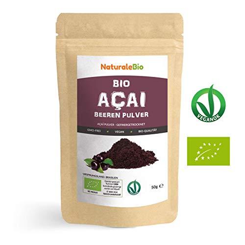Açaí Beeren Pulver Bio [ Gefriergetrocknet ] 50g | Pure Organic Acai Berry Powder ( Freeze-Dried ) | 100% aus Brasilien, Getrocknet, Rohkost und Extrakt aus Pulp der Acai-Beeren Frucht | NATURALEBIO