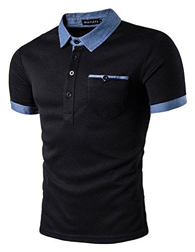YCHENG Herren Slim fit Kontrast Polohemd Poloshirt Polo T-Shirt, Farbe Schwarz,  Größe M (Kontrast Polo)