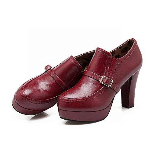 Mee Shoes Damen Blockabsatz Plateau runde ankle Boots Rot