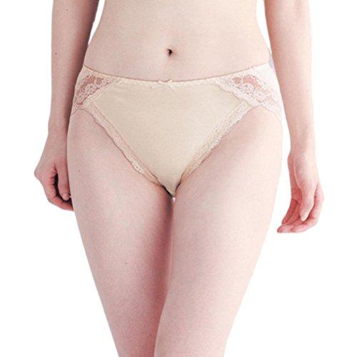 Zhuhaitf High Quality Womens Lace Underwear Traceless Transparent Low Waist Leak-free Briefs für Frauen Beige