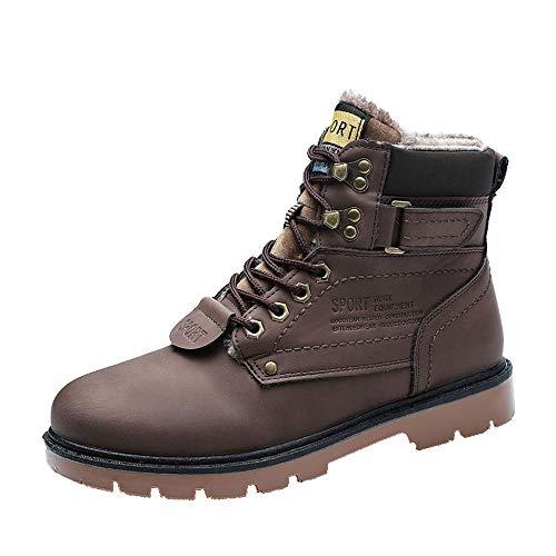 Celucke Herren Schnürstiefel Kurzschaft Warm Gefütterte Stiefel Combat Boots,Winter Männer Budapester Sport Stiefeletten (Stiefel Kleinkind Hunter)