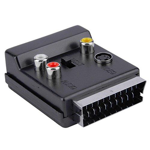 REFURBISHHOUSE Neuester umschaltbarer Scart Stecker auf Buchse S-Video 3 Cinch Audio Adapter Konvektor