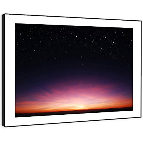 Und Weiß-wand-kunst-himmel Schwarz (BFC351C gerahmte Bild Wand kunst- Sonnenuntergang Nacht Himmel Modernes Malerische Landschaft Wohnzimmer Schlafzimmer Stück Wohnkultur Leicht Hang Guide (58X41cm))