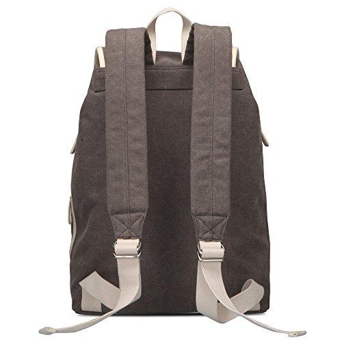 Bwiv Rucksäcke Canvas Unisex Schulrucksack Vintage Schultertasche Daypack Outdoor Backpack Damen Herren Tasche für Retro Reisetaschen Lässige Olive L Grau
