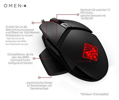 Omen Reactor - Raton para Gaming (dpi de 16 000, tecnología óptico-mecánica, hasta 50 Millones de pulsaciones) Negro