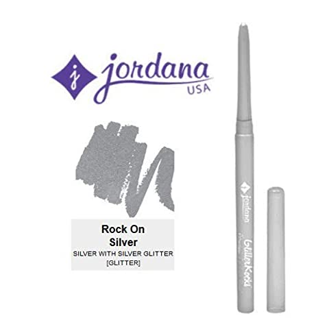 3 Pack Jordana Cosmetics Glitter Rocks Retractable Eyeliner Pencil 02 Rock On Silver by Jordana
