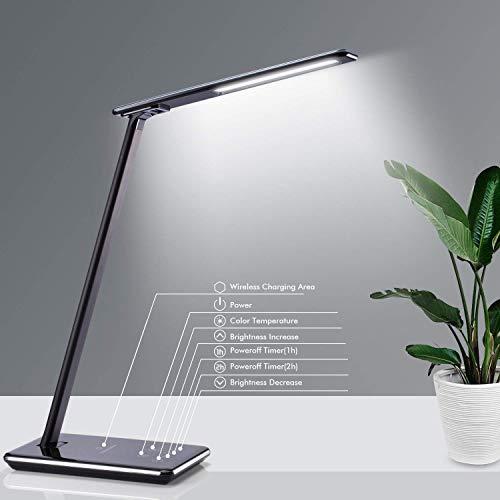 LED Tischlampe mit kabelloser Ladestation Qi, Schreibtischlampe dimmbar mit USB-Port für Ladegerät, 4 Farbtemperaturen, Speicherüberwachung Tattile Schwarz