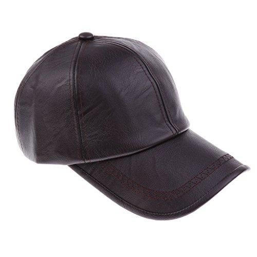 MagiDeal Leder Baseball Cap Kappen Herren Basecap Schirmmütze Baseballmütze Herrencap - Stil 2-Dunkelbraun