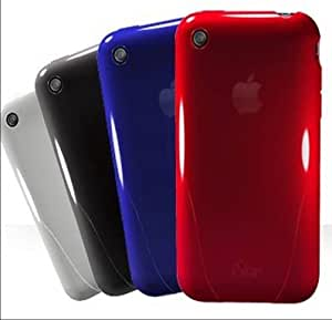 4 APPLE IPHONE HARD BACK CASES COVER APPLE IPHONE 3G S 3GS 2G BLACK RED WHITE AND BLUE