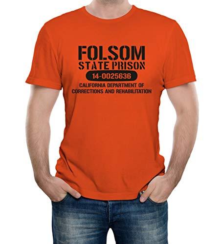 Reality Glitch Herren Folsom Prison T-Shirt (Orange, Groß)