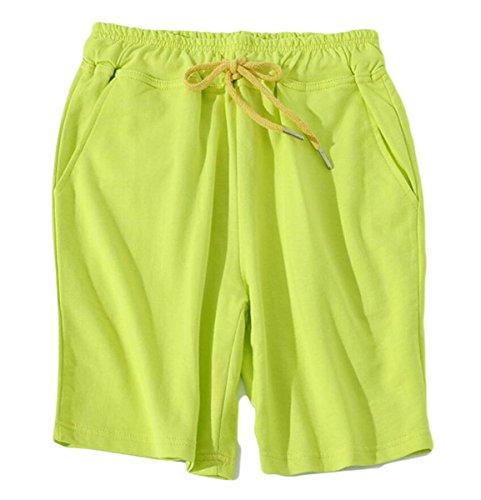 Gocgt Men' Classic Summer Solid Drawstring Linen Shorts