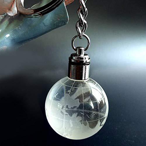 Carry stone Globus Kristallkugel 3D Gravierte Schlüsselanhänger Ring Schlüsselanhänger Schlüsselanhänger LED Glow Anhänger Geschenk Nützlich und Praktisch