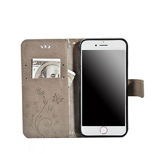Bling Bling Wallet Case Gris pour iPhone 6 6S Coque, Sunroyal 3D Diamant Strass Étui en PU Cuir Wallet Cas Portefeuille Universelle Flip Bookstyle Support rotatif 360° Back Cover avec Diamant Strass P PU Strass Gris