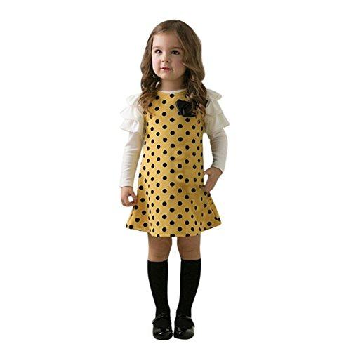 DAY8 Fille 1 à 7 Ans Vetement Robe De Princesse Fille Chic Hiver Robe Fille Soirée Ete Pas Cher Robe Enfant Fille Fashion Bowknot Printemps Robe Bebe Fille Mode Manche Longue (120(4-5 ans), Jaune)