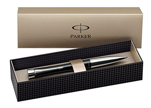 Parker S0767130 Urban-Kugelschreiber (London Cab-schwarz mit Chromverzierungen, blaue Tinte)