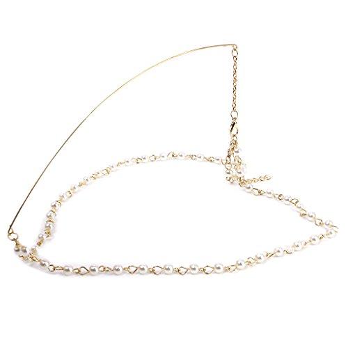 Kette Künstliche Pearl Kopf Haar Band Kopfstück Stirn Stirnband
