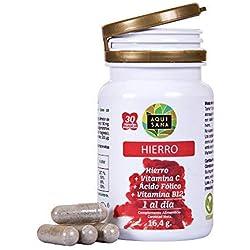 Hierro con ácido fólico y vitamina C para mejorar la vitalidad y la energía y evitar la anemia - Suplemento de hierro, ácido fólico y vitamina B12 recomendado para embarazos - 30 cápsulas vegetales