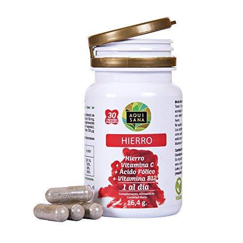 Hierro con ácido fólico y vitamina C para mejorar la energía y ayudar a prevenir la anemia - Suplemento de hierro, ácido fólico y vitamina B12 - 30 cápsulas vegetales