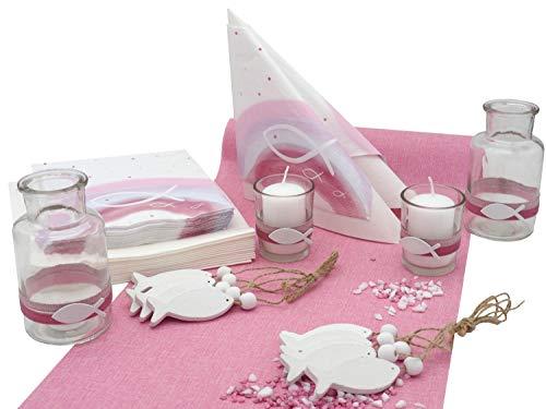 ZauberDeko Tischdeko Kommunion Konfirmation Taufe Pink Rosa Weiß Fisch Regenbogen Set 20 Personen