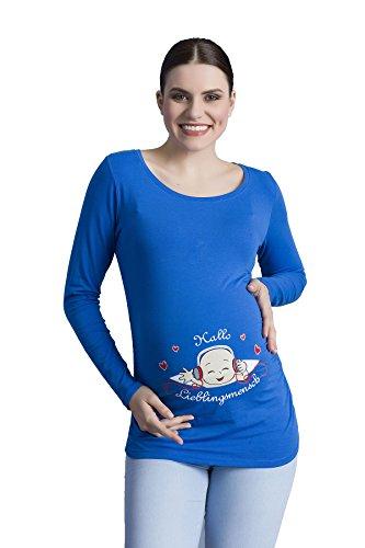 Hallo Lieblingsmensch - Witzige süße Umstandsmode T-Shirt mit Motiv Schwangerschaft, Langarm (Medium, Dunkelblau)