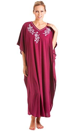 Frauen/Damen Nachtwäsche Floral Print Kaftan Robe Eine Größe Fit, Burgund -