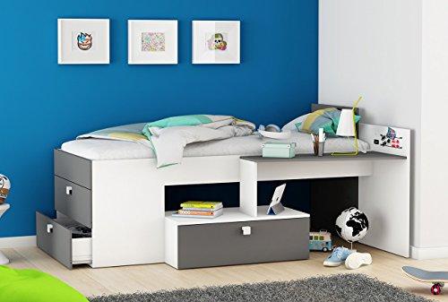 Funktionsbett 90*200 cm weiß / grau inkl Schreibtisch + Kommode Kinderbett Jugendbett Jugendliege Bettliege Bettgestell Bett Jugendzimmer Kind