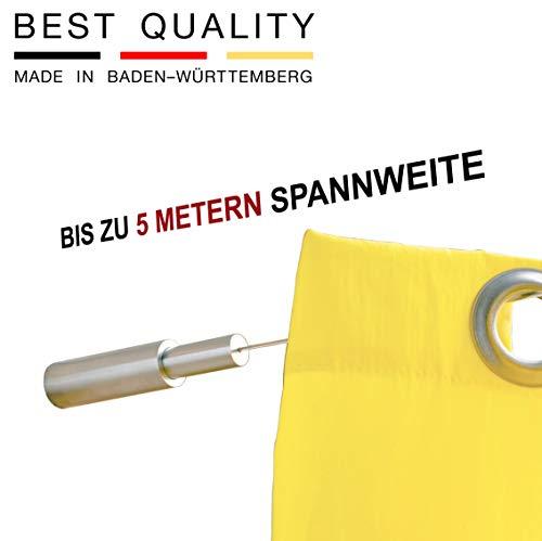 PHOS Edelstahl Design, SSA18Set5, Seilspanngarnitur, von Wand zu Wand, bis zu 5 Meter Spannweite, Made in Baden-Württemberg. Seilspannsystem, Gardinenseil, Stahlseil, Seilsystem, Vorhang Gardine - Spannweite