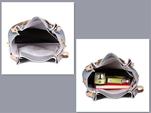 Groß PU Leder Handtaschen Damen Henkeltaschen Cross Body Umhängetaschen Schultertaschen  Taschen Set für Frauen Mädchen - Grau Grau