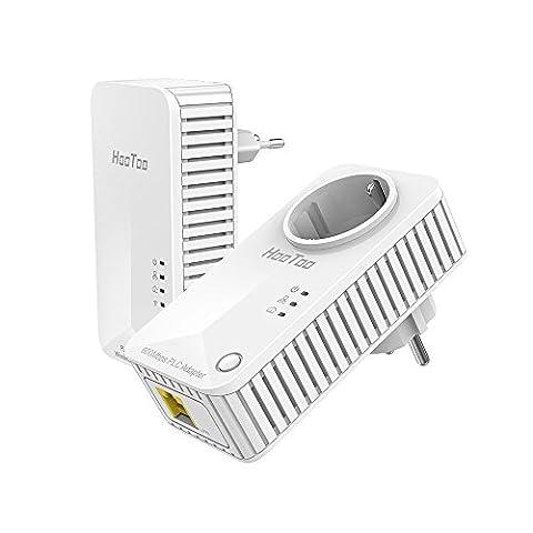 HooToo Powerline Adapter Netzwerkadapter PLC Netzwerkadapter WLAN Router + integrierte Steckdose, 2er Set: HT-ND004 + HT-ND005