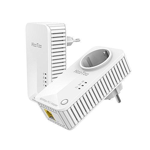 HooToo Powerline Adapter PLC Netzwerkadapter 2er Set: 2 Ports WLAN Router und 1 Port integrierte Steckdose (2er Set: HT-ND004 + HT-ND005)