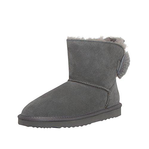 SKUTARI Luxuriöse Nieten Biker Bow Schlupfstiefel Warm Gefüttert Fell Wildleder Stiefel Boots (40, Grey/5027) (Snake Leather Stiefel)