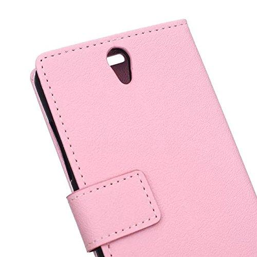 Solid Color Kas Texture Pattern Leder Schutzhülle Case Horizontal Flip Stand Case mit Karten Slots für Lenovo S1 LITE ( Color : Pink , Size : Lenovo S1 LITE ) Pink