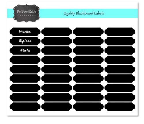 36 Rectangle 50mm x 13mm RE-WRITABLE Chalkboard Blackboard Labels Herb & Spice Jar Stickers - Food Container Stickers