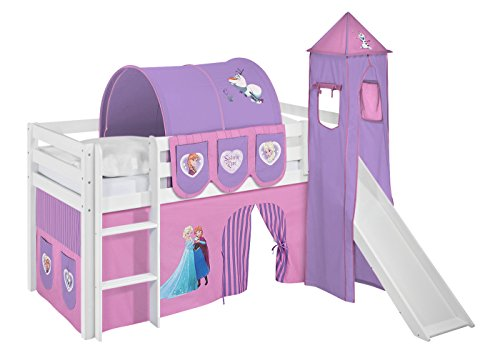Lilokids Spielbett Jelle Eiskönigin, Hochbett mit Turm, Rutsche und Vorhang Kinderbett