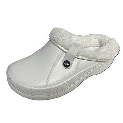 JEMIDI Clogs Hausschuhe Clog Warm gefüttert Hausschuh Kinder Damen Herren Jungen Schuhe Weiß 37