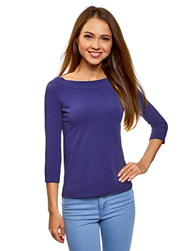 oodji Collection Damen T-Shirt mit 3/4-Arm, Blau, DE 38/EU 40/M (T-shirt Mädchen Blau Licht)