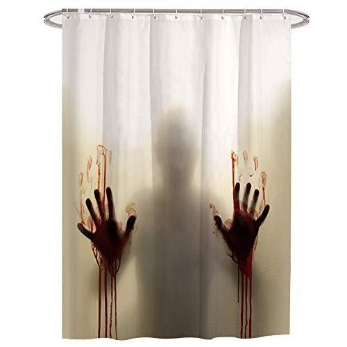 Niocase creepy bloody hands tenda da bagno scary silhouette tende da doccia resistente alla muffa impermeabile non tossico con ganci