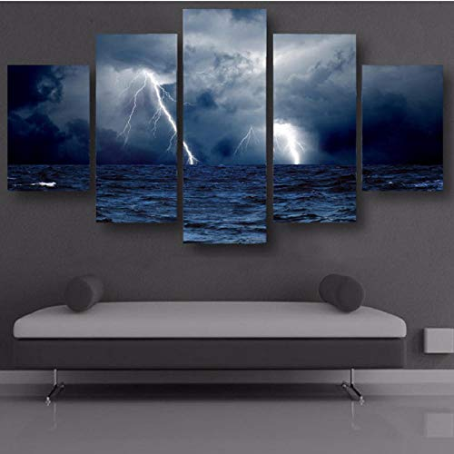 shuyinju Malerei Poster Wandkunst Wohnzimmer Gedruckt Bilder 5 Panel Meereswellen Sturm Blitz Ozean Moderne HD Rahmen Wohnkultur Leinwand-40x80cmx2 40x100cmx1