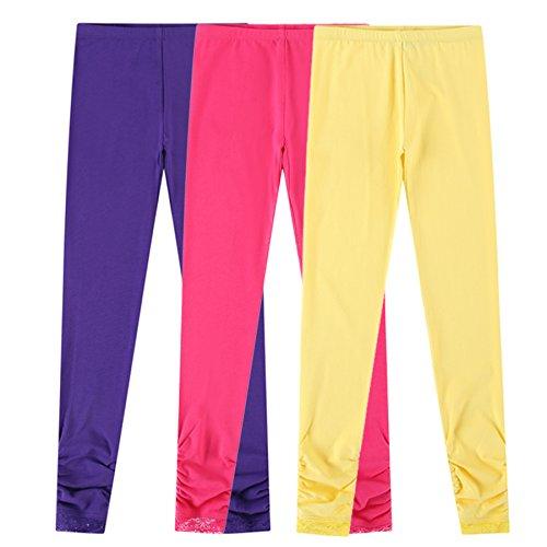 Bienzoe Mädchen Strick Baumwolle Stretch Schuluniform Spitze Antistatische Legging 3 Packung LT Größe 10 (Jersey Taille Pants Elastische Knit)