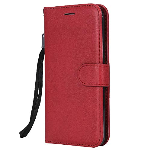 "Coopay Etui iPhone 5S 4.0"" Rouge, Slim Pochette Femme Coque iPhone 5S 5 Se Rabat Originale Couleur Lirves Magnetic Support Folio Anti-Rayures Housse de Protection + Dragonne Cou"