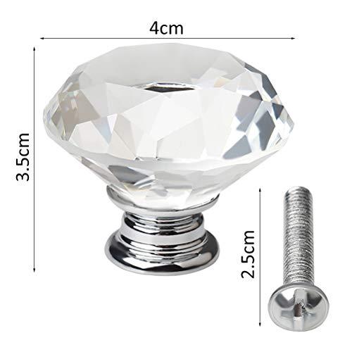 41%2BWbUSDKVL - nuosen - 4 pomos de Cristal, 40 mm, cajón de Diamante, Tirador de Puerta de Armario, Tiradores de Cristal con Tornillos para el hogar, Cocina, Oficina, cajón de Pecho, aparador