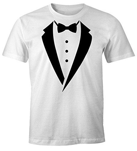 irt Smoking Tuxedo Anzug Aufdruck Fun-Shirt Weiß XS (T Shirt Mit Anzug)