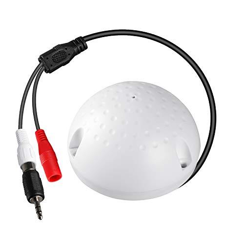 Dericam Hochempfindliches Mikrofon für CCTV/IP-Kamera/DVR/NVR, Audio-Pickup-Gerät für Sicherheitssystem, mit 1 Buchse auf 2 Steckerteiler, Ohne Netzteil, A1, Weiß Cctv Dvr Kamera