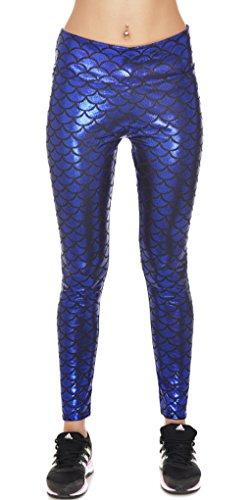 BOZEVON Donna Digitale Stretch Stampati Pantaloni Stretti Leggings Blu 1