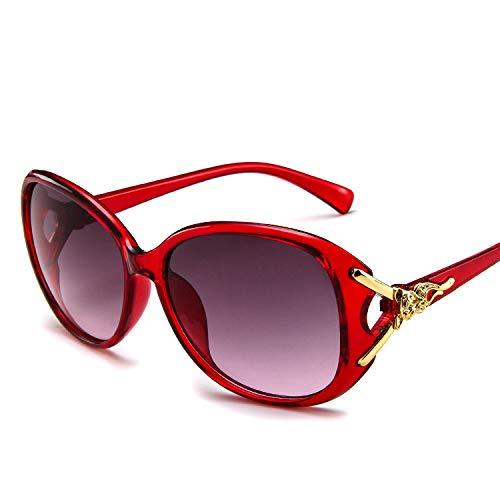 DZSF Frauen Lady Fox Kopf Retro Frosch Spiegel große Box Trend Wilde Sonnenbrille, UV-beständig mit Brillenetui,2
