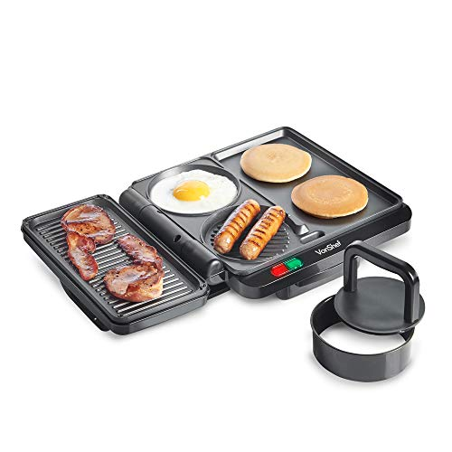 VonShef Multi-Purpose Grill - Breakfast Griddle with 4 Non-Stick Cooking Surfaces & Accessories Included - 1100W