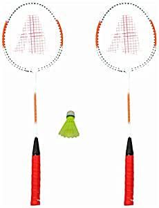 Gas Smash Carbon Fibre Badmintion Racquets - Set of 2 Racquet and Shuttlecock and Cover (Silver-Blue & Silver-Red)