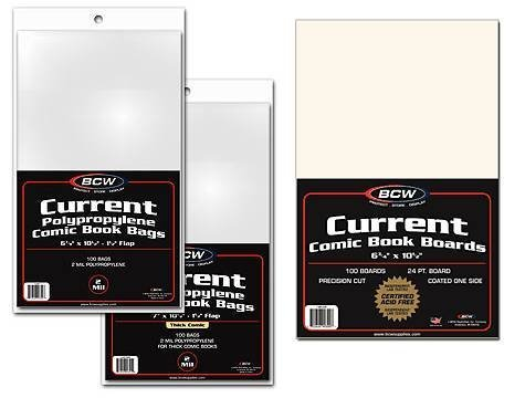 MEGA DEAL – BCW Current Comic Book COMBO PACK (5 Packs of Backing Boards & 5 Packs of Current Comic Bags) – Comics 41 2BWeemkUnL