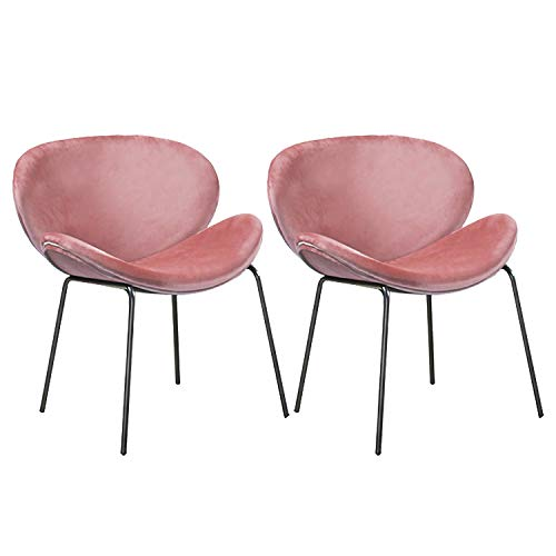LOVEMYHOUSE Satz Von 2 Samt Sitz Esszimmerstühlen mit Effekt Metallbeinen Wohnzimmer Stuhl,Rosa Ergonomisches Design Wohnzimmer Stühle - Wohnzimmer Mit Zwei Sitz-stuhl