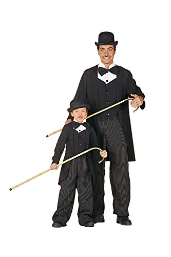 Charlie Frack Kinderfrack + Melone Clown Zirkus Kinderkostüm Größe 116 bis 164 (140) (Charlie Chaplin Kostüm Kinder)